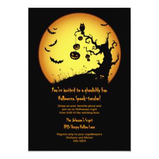 Spooky Tree with Full Moon Halloween Invitation
