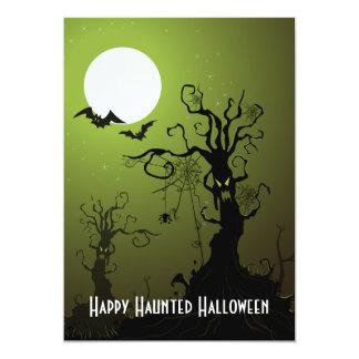 Spooky Trees Bats Spiders Full Moon Halloween Card