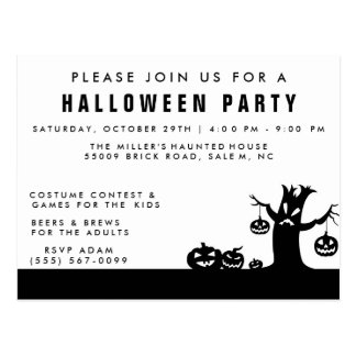 Spooky Trees Halloween Party Invitation Postcard