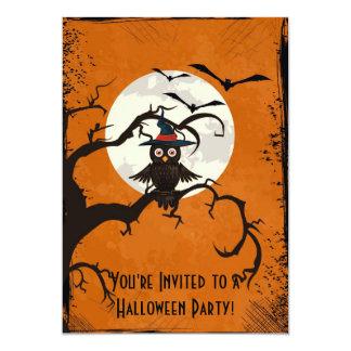 Spooky Trees Owl Full Moon Halloween Invitation