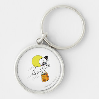 Spooky Trick or Treat 2 Silver-Colored Round Keychain