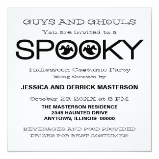 Spooky Typography Halloween Party Invite, Black Card
