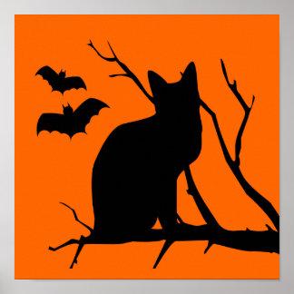 Spooky Vampire Bats Black Cat Tree Halloween Poster