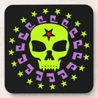 Spooky Vampire Skull with Pentagram and Stars Coaster