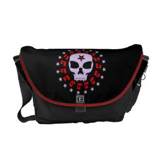 Spooky Vampire Skull with Pentagram and Stars Messenger Bag