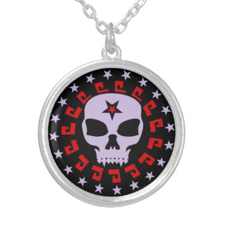 Spooky Vampire Skull with Pentagram and Stars Silver Plated Necklace
