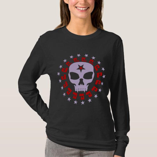 Spooky Vampire Skull with Pentagram and Stars T-Shirt