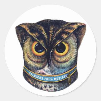 Spooky Victorian Owl - Colburns Mustard Classic Round Sticker