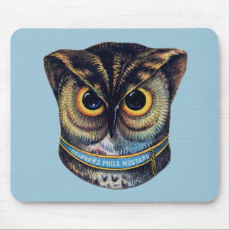 Spooky Victorian Owl - Colburns Mustard Mouse Pad