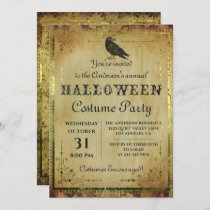 Spooky Vintage Gothic Halloween Costume Party Invitation
