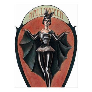 Spooky Vintage Halloween lady postcard