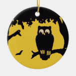 Spooky Vintage Halloween Owl, Tree with Full Moon Christmas Tree Ornament