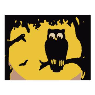 Spooky Vintage Halloween Owl Tree with Full Moon Postcards