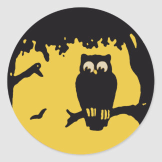 Spooky Vintage Halloween Owl Tree with Full Moon Round Sticker