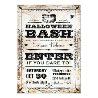 "Spooky Vintage Halloween Party Invitation 5"" X 7"" Invitation Card"