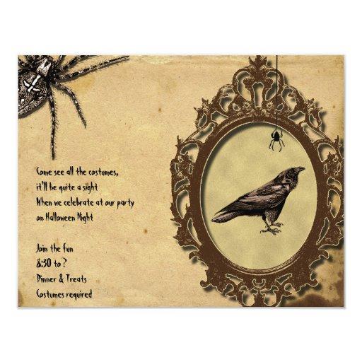 "Spooky Vintage Raven Spider Halloween Invitation 4.25"" X 5.5"" Invitation Card"