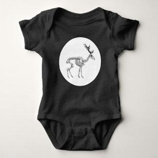 Spooky vintage skeleton reindeer drawing baby bodysuit