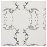 Spooky vintage skeleton reindeer drawing fabric