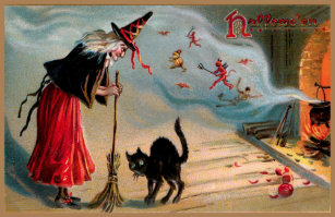 Spooky Vintage Witch with Black Cat and Devils Doormat