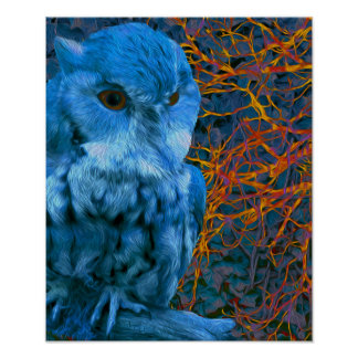 Spooky Watchful Owl Poster