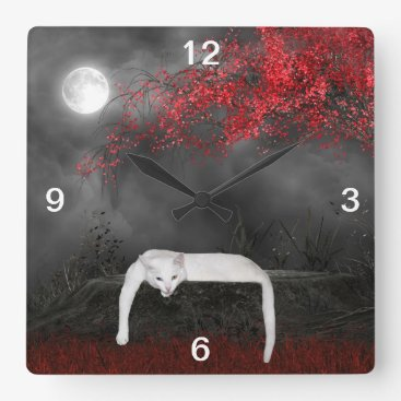 deemac1 Spooky white cat square wall clock