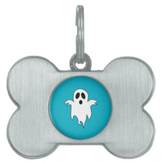 Spooky White Ghost Pet Tag