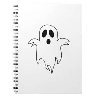 Spooky White Ghost Spiral Note Book