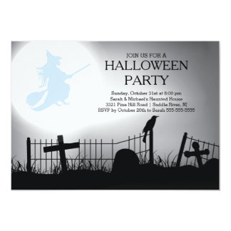 "Spooky Witch Graveyard Halloween Party Invitation 5"" X 7"" Invitation Card"
