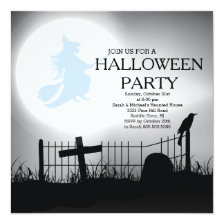 "Spooky Witch Graveyard Halloween Party Invitation 5.25"" Square Invitation Card"