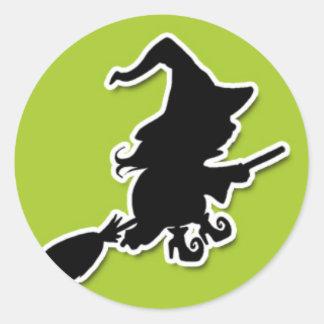 Spooky Witch on Green BG Classic Round Sticker
