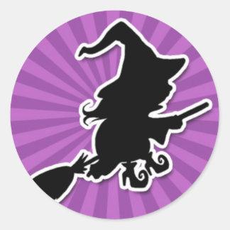 Spooky Witch on Purple Starburst Classic Round Sticker