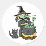 Spooky Witch Round Sticker