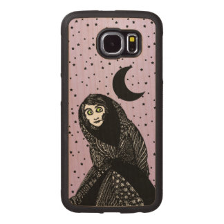 Spooky Woman Hooded Dress Green eyes Stars Moon Wood Phone Case