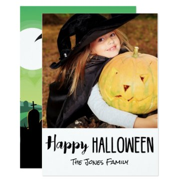 Halloween Themed Spooky Zombie Graveyard Halloween Photo Card