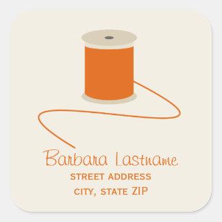 Spool of Orange Thread Address Sticker