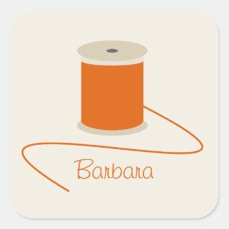 Spool of Orange Thread Personalized Square Sticker