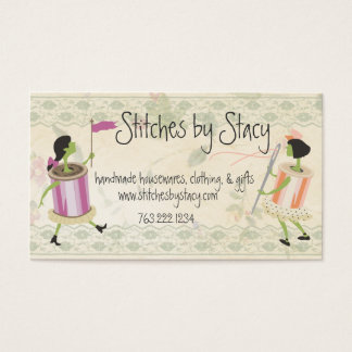 Spool of thread & button people lace sewing card