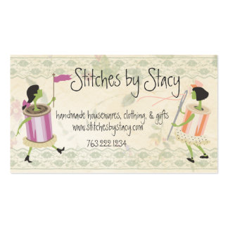 Spool of thread & button people lace sewing card business card