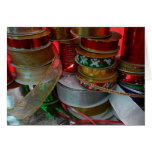 Spools of Christmas Ribbon Holiday Red and Gold Card