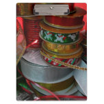 Spools of Christmas Ribbon Holiday Red and Gold Clipboard