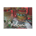 Spools of Christmas Ribbon Holiday Red and Gold Doormat
