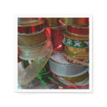 Spools of Christmas Ribbon Holiday Red and Gold Napkin
