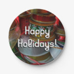 Spools of Christmas Ribbon Holiday Red and Gold Paper Plate