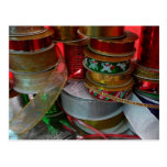 Spools of Christmas Ribbon Holiday Red and Gold Postcard