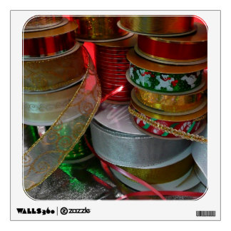 Spools of Christmas Ribbon Holiday Red and Gold Wall Sticker