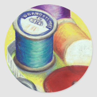 Spools of thread - colored pencil drawing classic round sticker