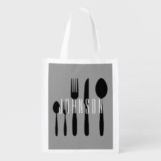 Spoon and Fork Cutlery Grocery Bag Custom Name