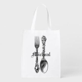 Spoon and Fork Cutlery Vintage Art Bag Custom Name Grocery Bags