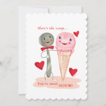 Spoon And Ice Cream Cone Vintage Valentine Holiday Card