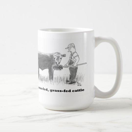 Spoon-fed, grass-fed cattle coffee mug